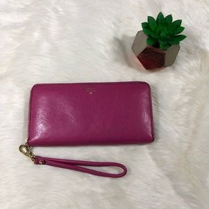 Fossil Hot Pink Leather Wallet/Wristlet